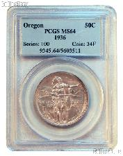 1936 Oregon Trail Memorial Silver Commemorative Half Dollar in PCGS MS 64