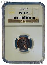1910-S Lincoln Wheat KEY DATE Cent in NGC MS 64 BN