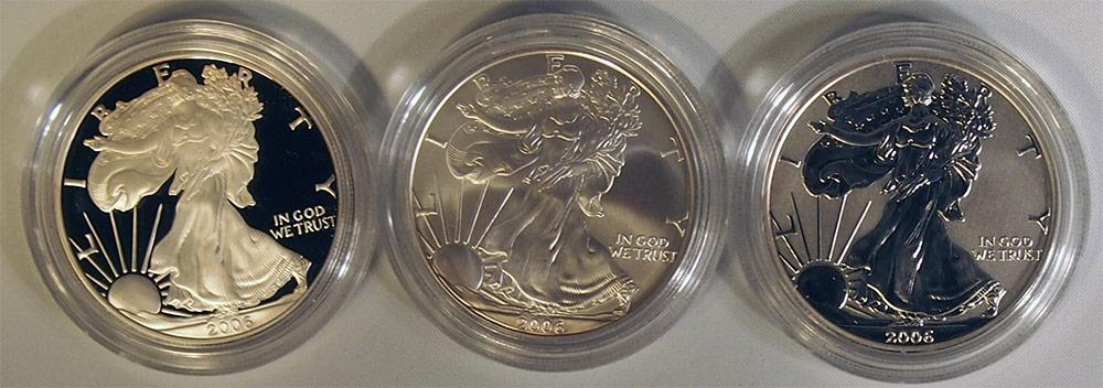 2006 American Silver Eagle 20th Anniversary 3-Coin Set