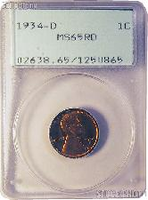 1934 Lincoln Wheat Cent in PCGS MS 65 RD