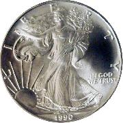 1990 American Silver Eagle Dollar BU 1oz Silver Uncirculated Coin