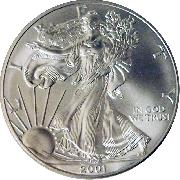 2001 American Silver Eagle Dollar BU 1oz Silver Uncirculated Coin